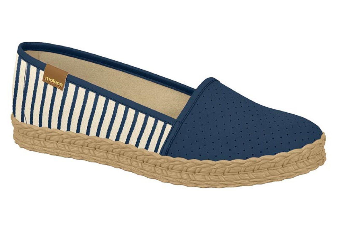 091a9633a Sapatilha Feminina Conforto Corda Nautico Azul Moleca - Clique+ Calçados