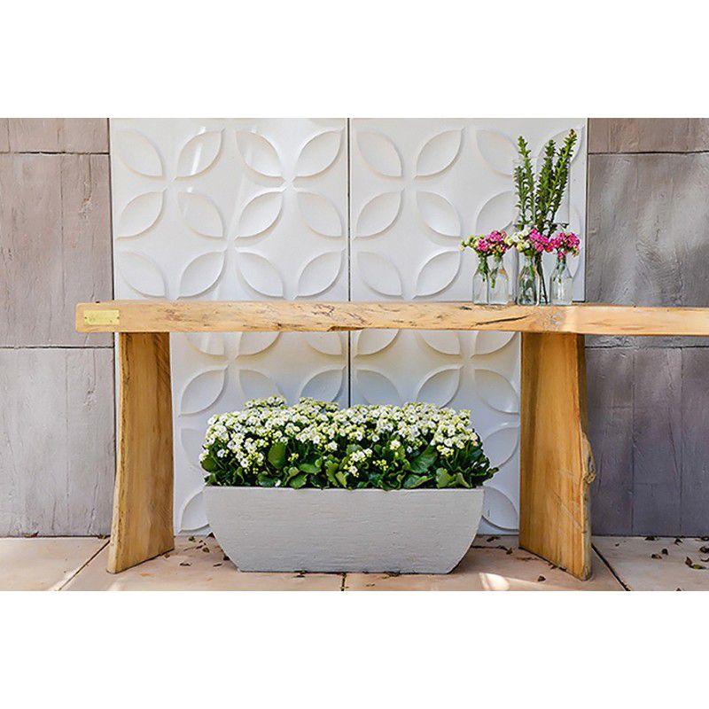 Vaso Floreira Quadrada Moderna em Polietileno Cimento -  Japi