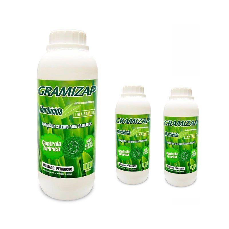 Kit 3 Herbicida Gramizap Imazapir Mata Tiririca 1L