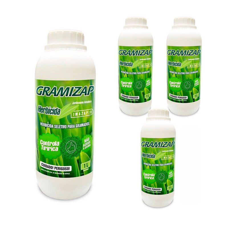 Kit 4 Herbicida Gramizap Imazapir Mata Tiririca 1L