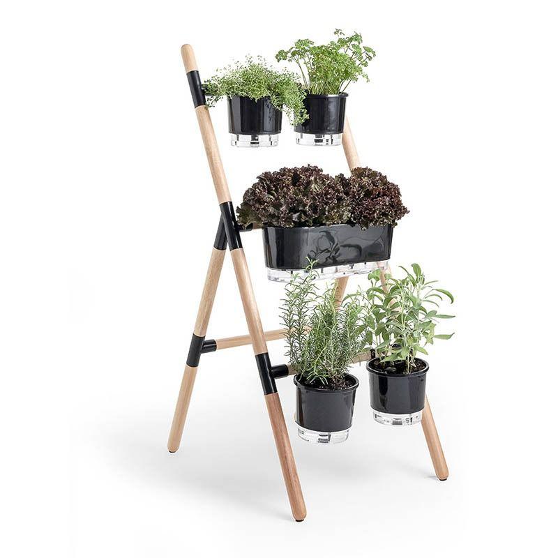 Kit Jardim Vertical Escada Eleve Vaso Autoirrigável Suporte Anel