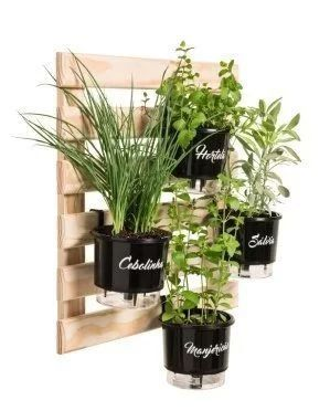 Treliça de Madeira 60cm x 60cm para Jardim Vertical Vaso Autoirrigável