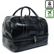 Bolsa De Mão Para Viagem de Couro Cor Preta HP038 | HAMISH