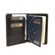 Porta Passaporte e Cartões de Couro Marrom | HAMISH