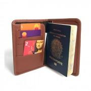 Porta Passaporte e Cartões de Couro Marrom Linhaça | HAMISH