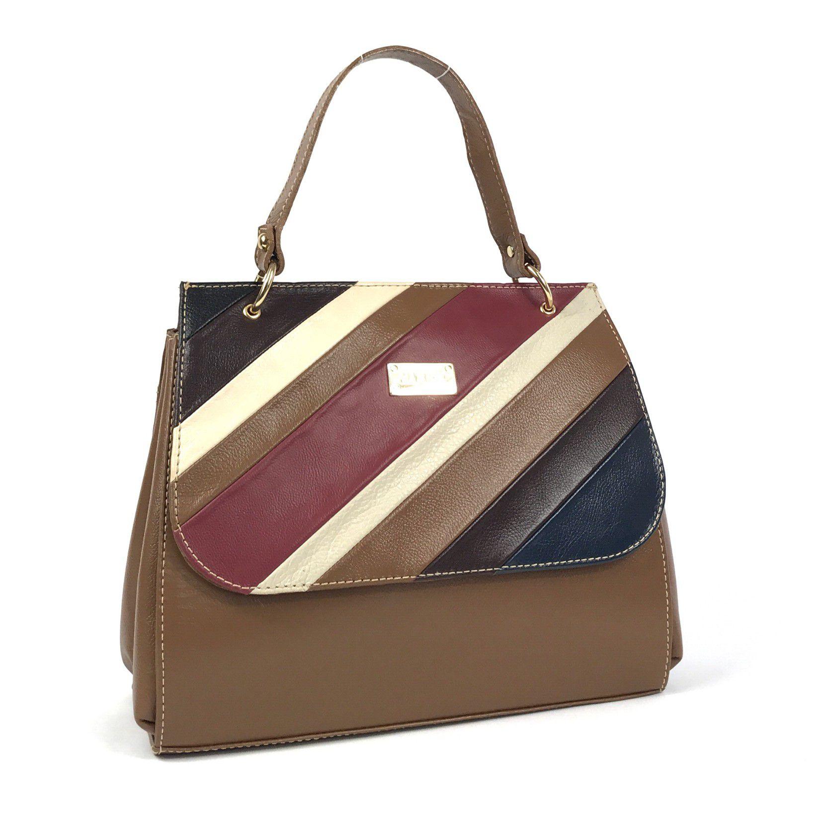009bf481d Bolsa feminina tiracolo de couro média marrom com alça de mão e transversal  HB695 | HAMISH
