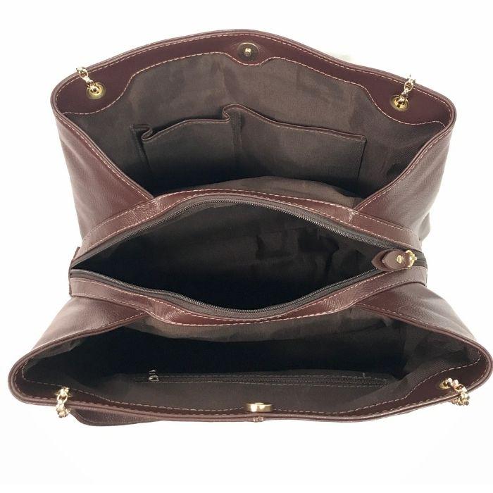 Bolsa de Couro Marrom com Alça Corrente Dourada HB729 | HAMISH