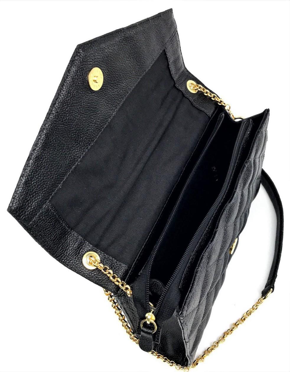 Bolsa de Couro Com Alça Corrente Tiracolo Preta HB656 | HAMISH