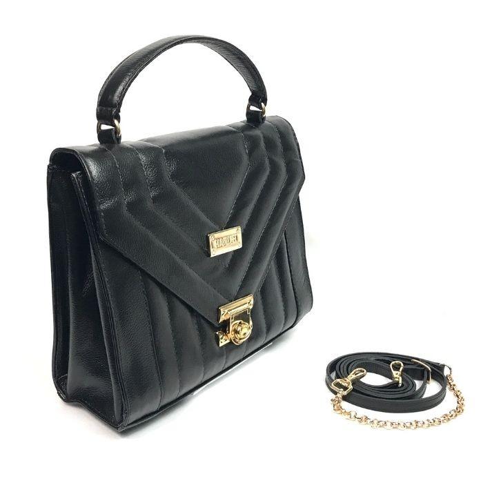 Bolsa de Couro Feminina Pequena Preta HB724 | HAMISH
