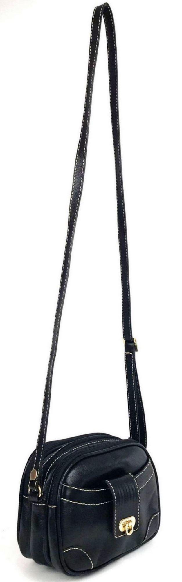 Bolsa de Couro Feminina Tiracolo Pequena Preta HB510 | HAMISH