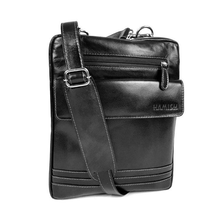 Bolsa de Viagem Pequena em Couro Cor Preta HP035 | HAMISH