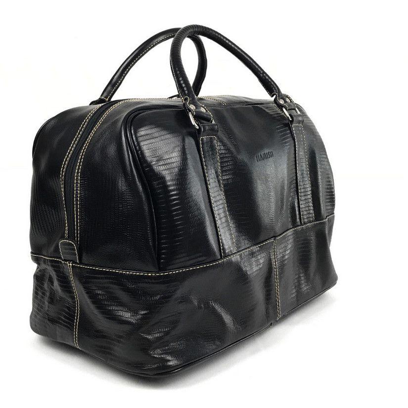 64959be03c Bolsa de viagem preta de couro média unissex HP038