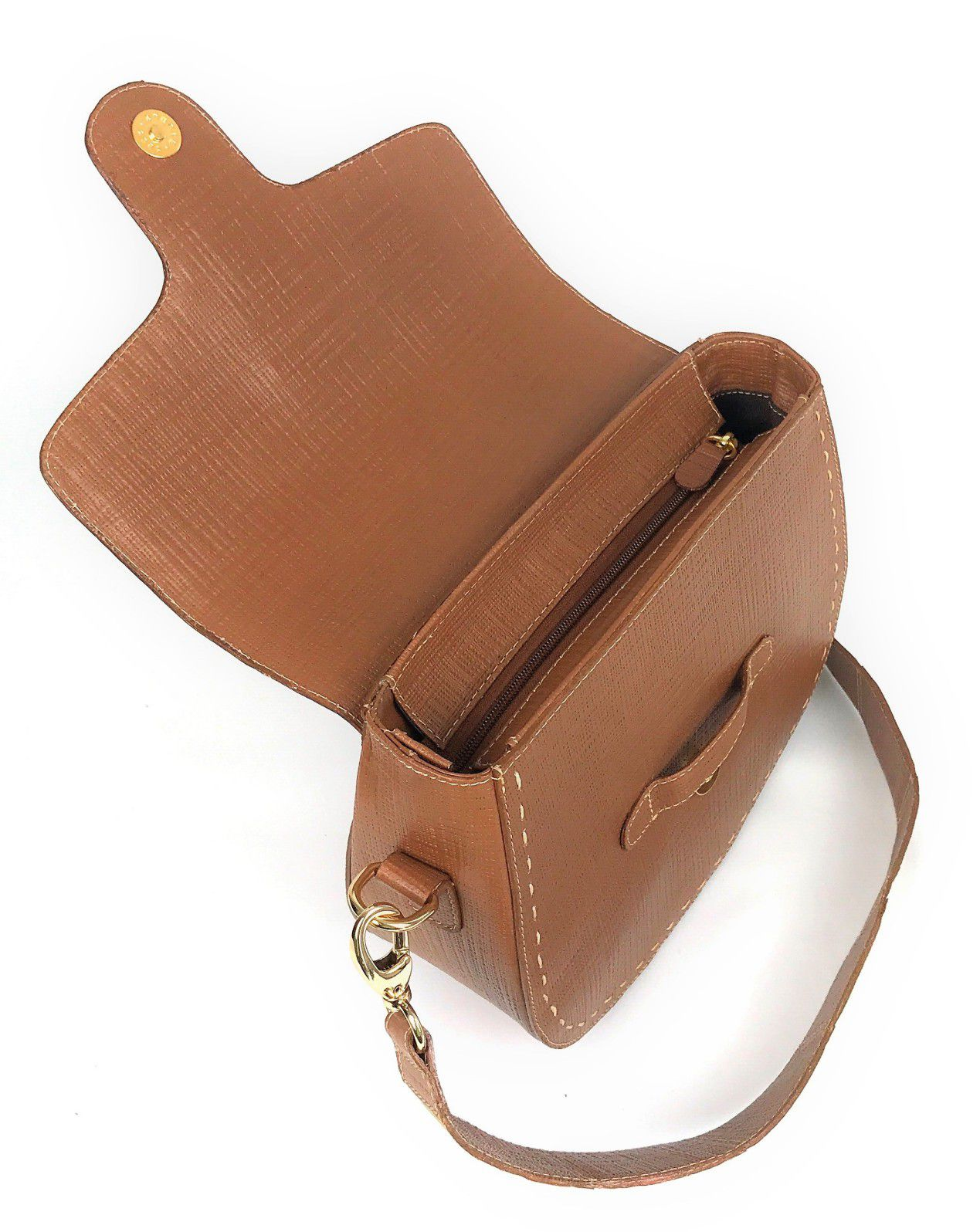 Bolsa Box Feminina de Couro Marrom Bambu HB637 | HAMISH