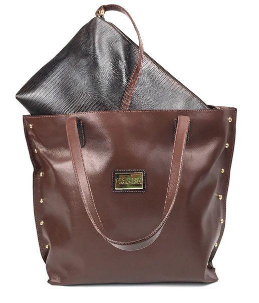 90a554500 Bolsa feminina grande de couro marrom com bolsa extra HB523 | HAMISH