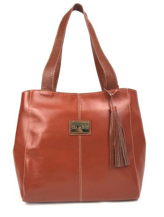 4a698a7d4 Bolsa feminina grande de couro marrom linhaça tipo tote HB650  HAMISH