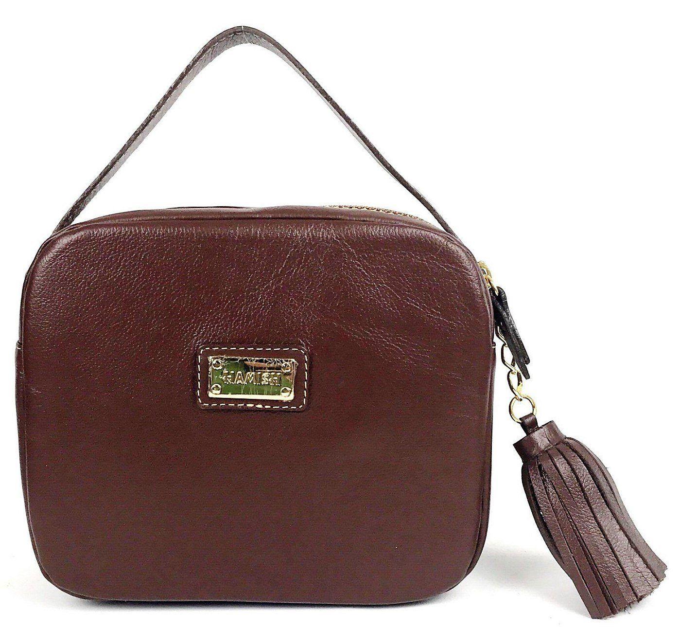 9d8634435 Bolsa feminina marrom pequena de couro tiracolo com alça de mão e  transversal HB629   HAMISH