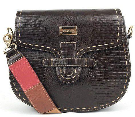 8af5a2200 Bolsa feminina média tiracolo de couro marrom com alça transversal colorida  HB637   HAMISH