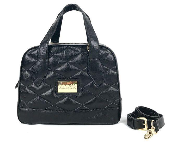 86d19cc76 Bolsa feminina preta de couro estruturado com alça mão e transversal média  HB685 | HAMISH