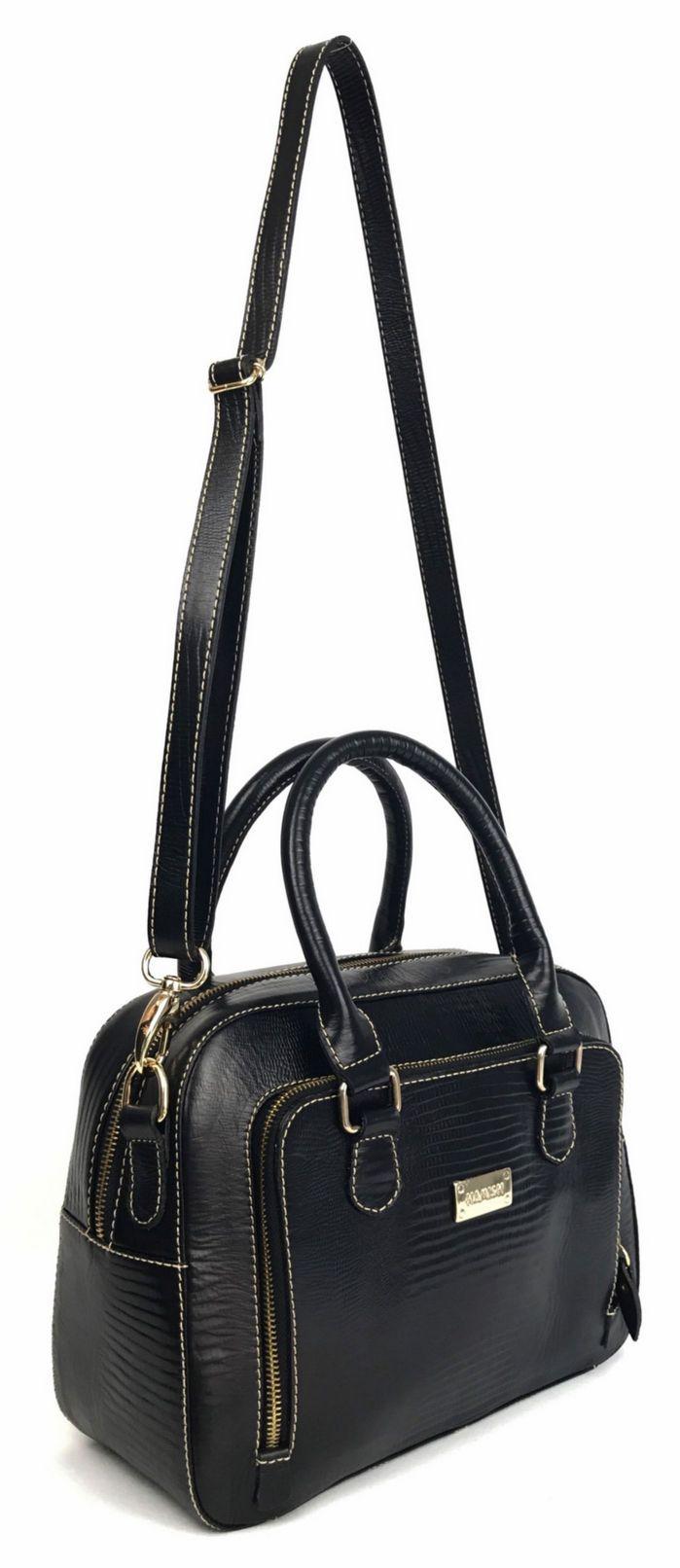 7e19b6e1f9b5c ... Bolsa feminina preta de couro preta média com alças de mão e transversal  HB661 | HAMISH