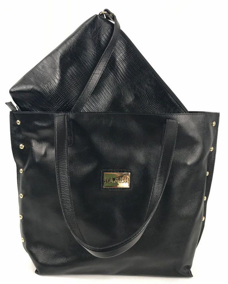42b499f5c Bolsa feminina preta grande de couro com bolsa extra HB523 | HAMISH