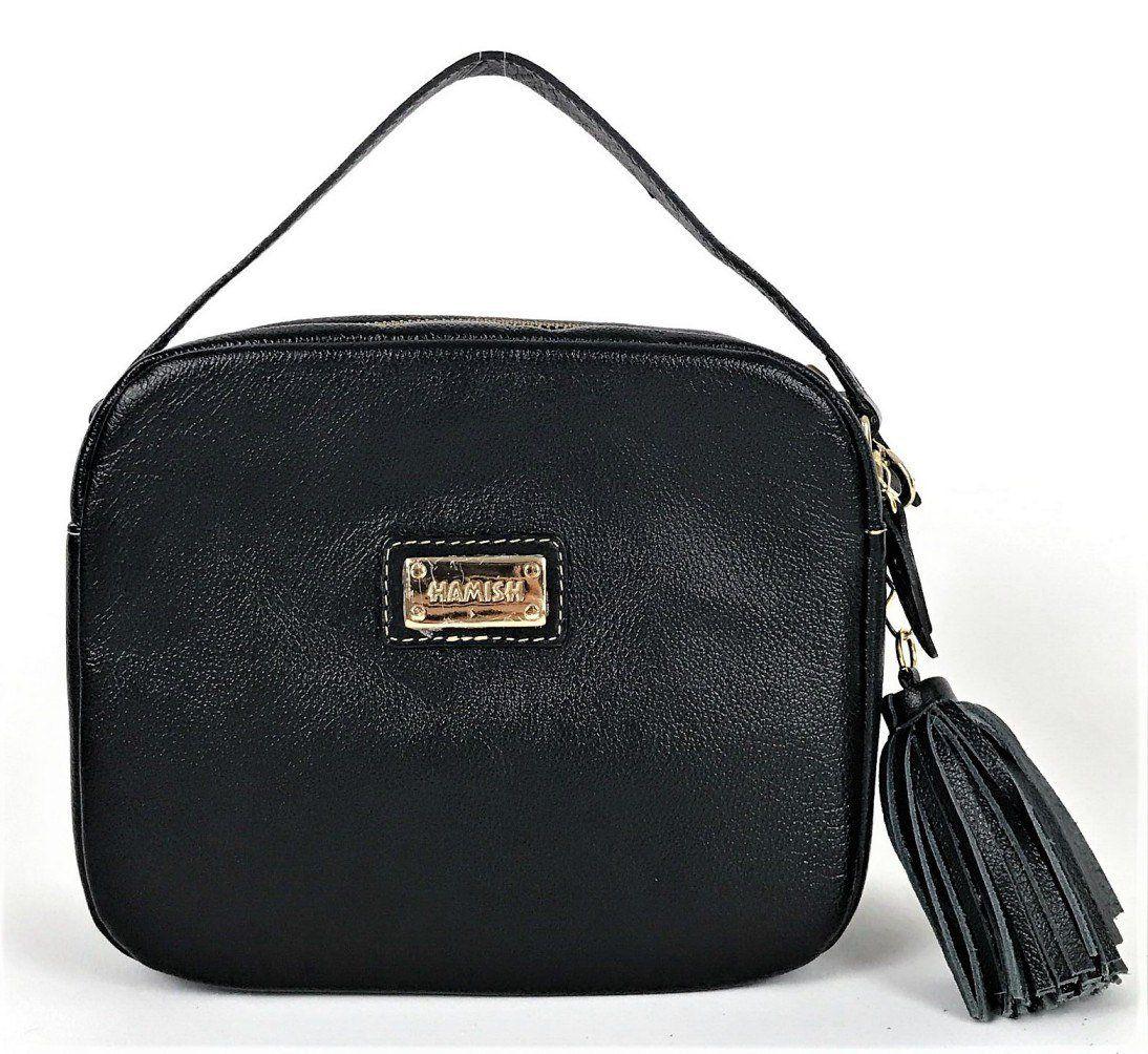 31777155f Bolsa feminina preta pequena de couro tiracolo com alça de mão e  transversal HB629 | HAMISH