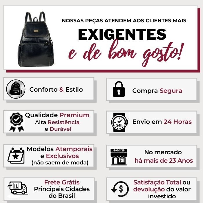 Bolsa Mochila Feminina de Couro Preta HM095 | HAMISH