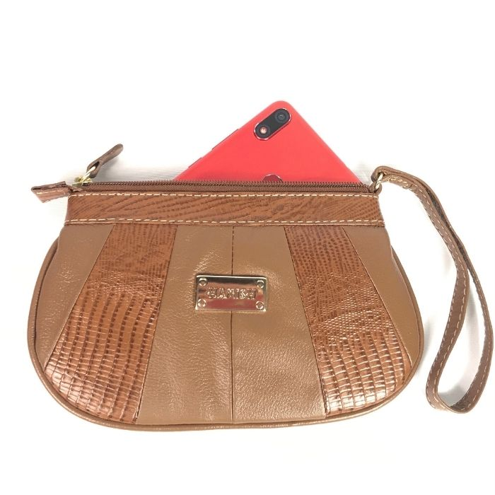 Bolsa Porta Celular de Couro Marrom Bambu HC012 | HAMISH