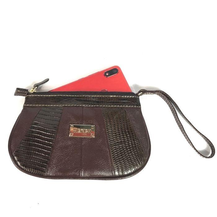 Bolsa Porta Celular de Couro Marrom HC012 | HAMISH