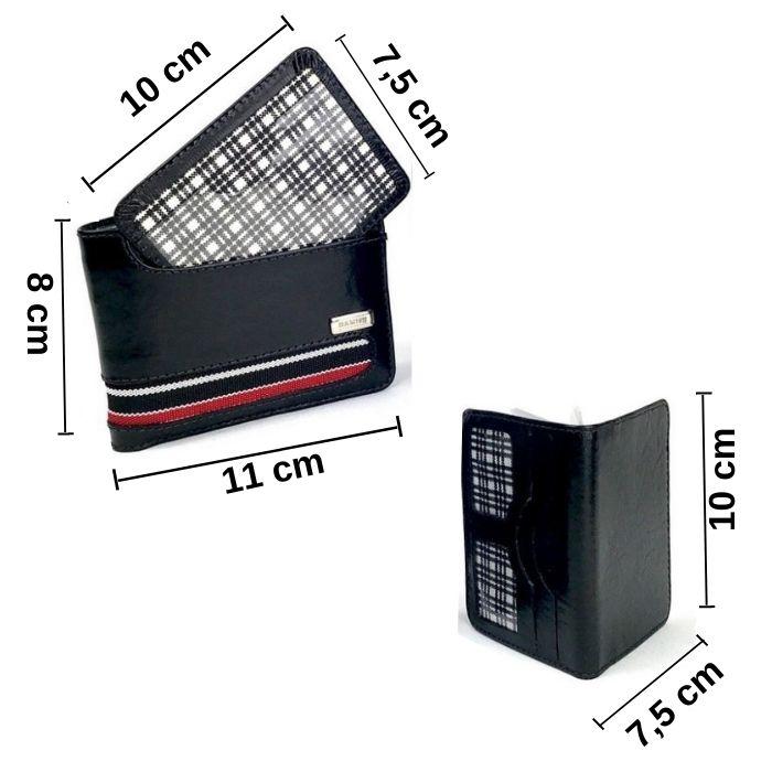 Carteira Masculina Preta de Couro com 2 Porta Cartões HC068 | HAMISH