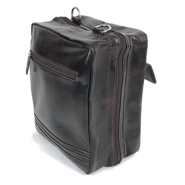 7d3a79c551 Mala de viagem de couro e alça transversal marrom média unissex HP035