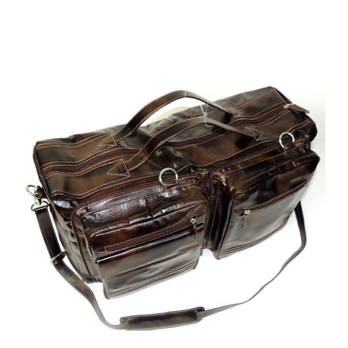 Bolsa de Viagem Pequena em Couro Cor Marrom HP035 | HAMISH