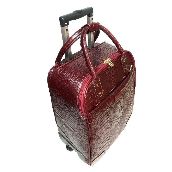Mala Viagem a Bordo de Couro Vermelha Bordô com Rodas HP312 | HAMISH