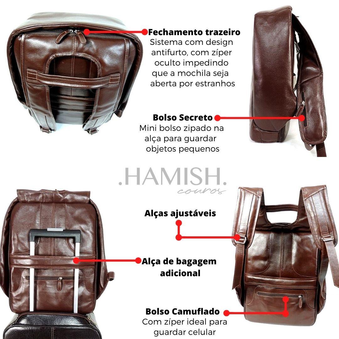 Mochila Antifurto de Couro Marrom HM101 | HAMISH