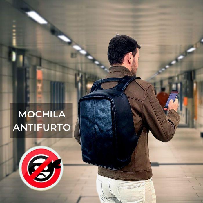 Mochila Antifurto de Couro Preta HM101 | HAMISH