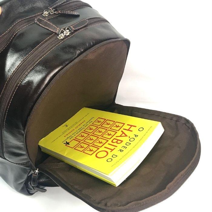 Mochila de Couro Marrom para Notebook HM080   HAMISH
