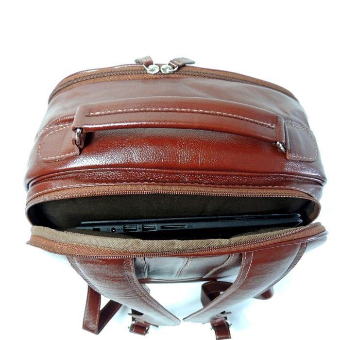 Mochila de Couro Marrom Whisky para Viagens HM099 | HAMISH
