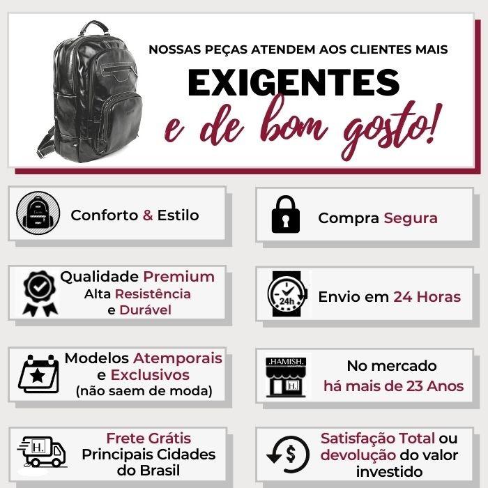 Mochila de Couro Preta para Notebook HM087 | HAMISH