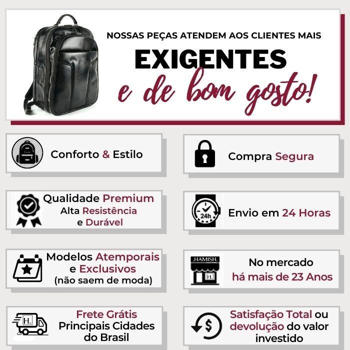 Mochila Preta de Couro para Notebook HM096 | HAMISH