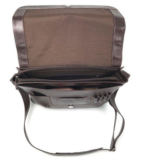 Bolsa Masculina de Couro Marrom com Alça Transversal HP015 | HAMISH