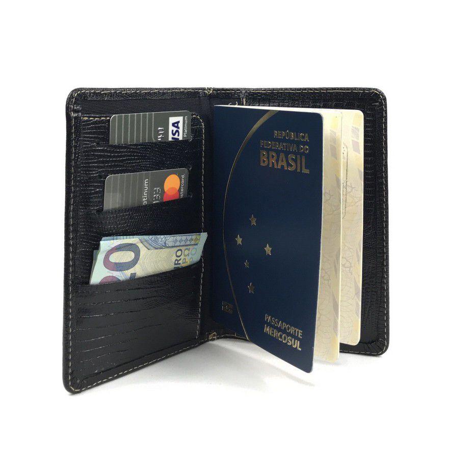 Porta Passaporte em Couro Preto | HAMISH