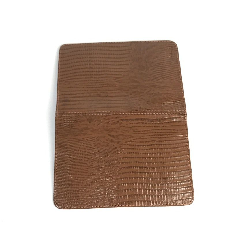 Porta Passaporte e Cartões de Couro Marrom Bambu | HAMISH