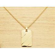 2a1f26a042 Corrente Masculina Grumet 70cm 2mm e Pingente Placa Tudo Folheado á Ouro.  Cod  1770