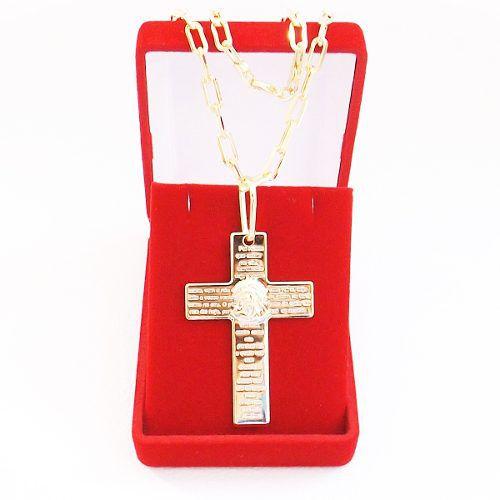 Corrente Masculina Cordão 60cm 4mm e Pingente Cruz Oração Pai Nosso Tudo  Folheado á Ouro Cod  ... 8badc8f612