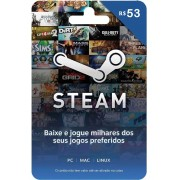Cartão Pré-Pago STEAM Gift R$ 53 Reais