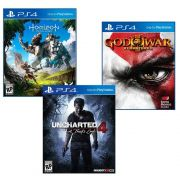 Combo Horizon: Zero Dawn + Uncharted + God of War 3 - PS4 embalagem cartão
