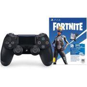 Controle Sony Dualshock 4 Preto sem fio (Com led frontal) + Voucher Fortnite Neo Versa - PS4