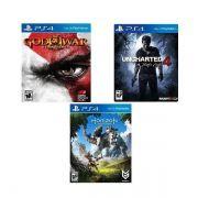 Horizon: Zero Dawn + Uncharted + God of War 3 - PS4 no encarte