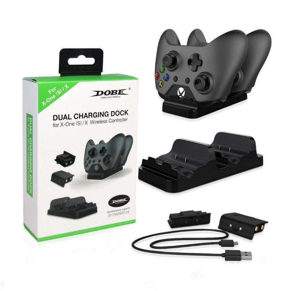 Base carregadora + 2 Baterias Dobe Controle Xbox One + Usb preto
