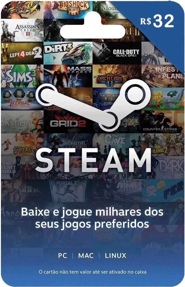 Cartão Pré-Pago STEAM Gift R$ 32 Reais
