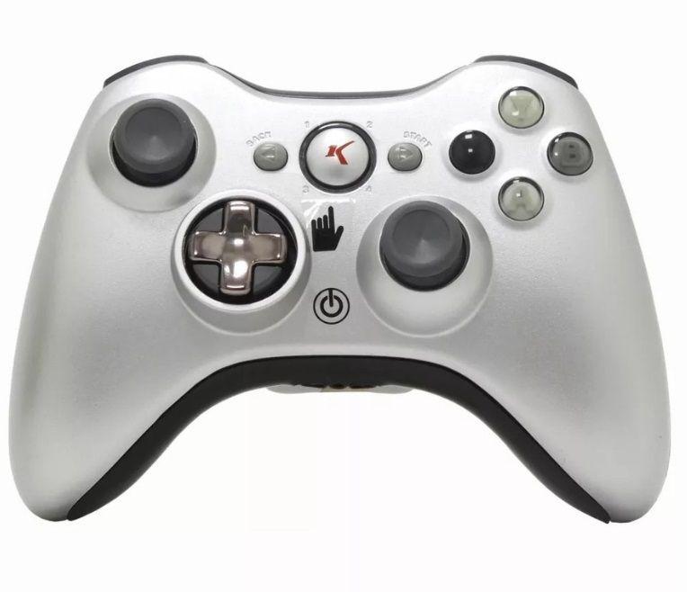Controle Sem Fio Xbox 360 prata Knup